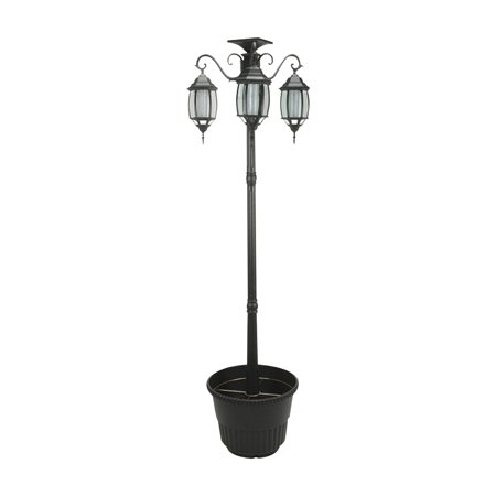 Large Three Light Solar Street Lamp with Planter Base