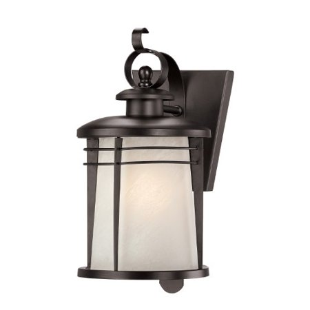 Westinghouse 6674100 Senecaville One-Light Exterior Wall Lantern, Weathered Bronze Finish on Steel with White Alabaster Glass