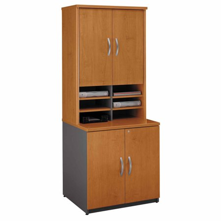 Bush Series C Storage Cabinet With Hutch Bookcase