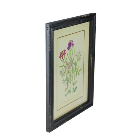 "16"" Black and Butter Yellow Distressed Wood Framed Floral Print Wall Art - image 1 of 2"