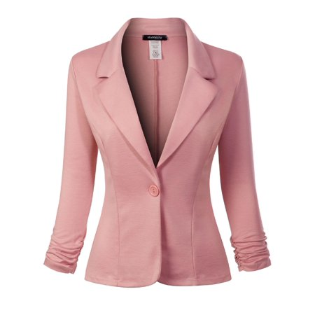 Made by Olivia Women's Classic Casual Work Solid Color Knit Blazer Mauve S