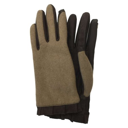 Isotoner Smart Touch Womens Camel Brown Ruffle Tech & Text Gloves Smartouch ()