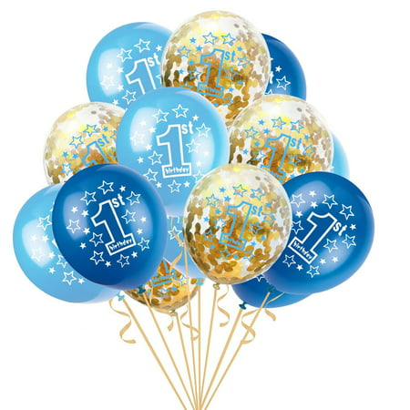 "15pcs 12"" Foil Latex Confetti Balloon Baby One Year Old Happy Birthday Party"