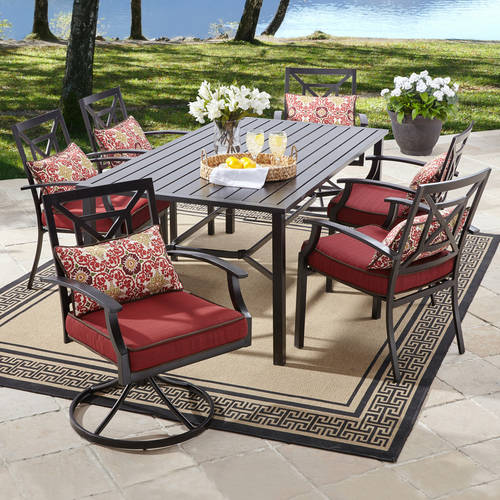 Attractive Better Homes And Gardens Carter Hills 7 Piece Dining Set, Maroon