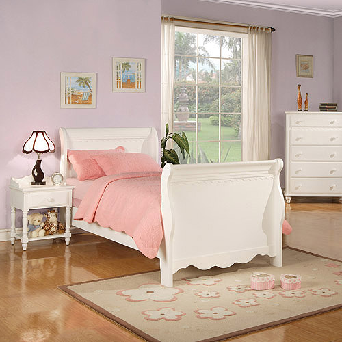 Coaster Pepper Twin Sleigh Bed, White
