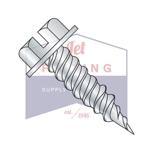 "#8 x 1"" Self-Piercing Screws | Slotted | Hex Washers Head (1/4"" AF) | Steel | Zinc (Quantity: 4000)"