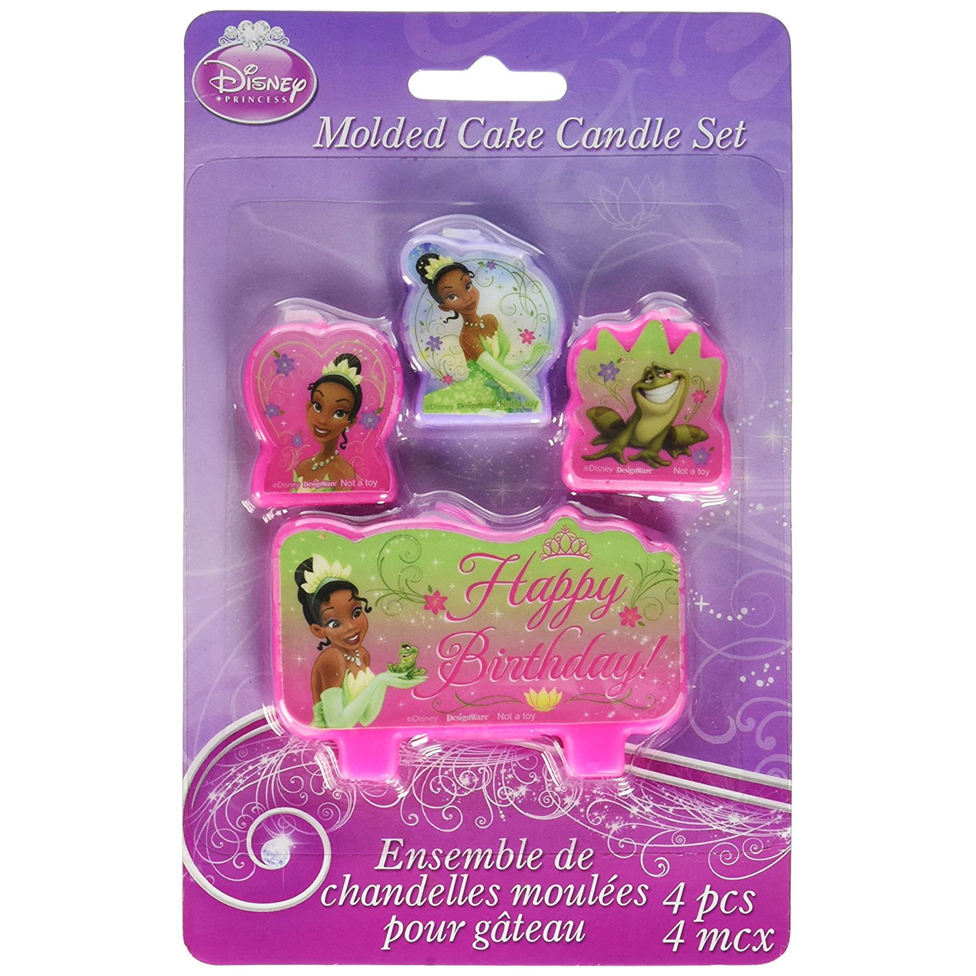 4pc Princess and the Frog Molded Cake Candle Set