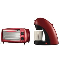 Brentwood Appliances TS-112R Single-Serve Coffee Maker with Mug (Red) and TS-345R 4-Slice Toaster Oven & Broiler (Red) Bundle