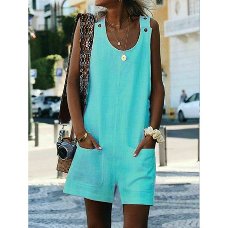 Women Sleeveless Linen Spaghetti-Strap V Neck Pockets Rompers Playsuits Sundress Green Size S