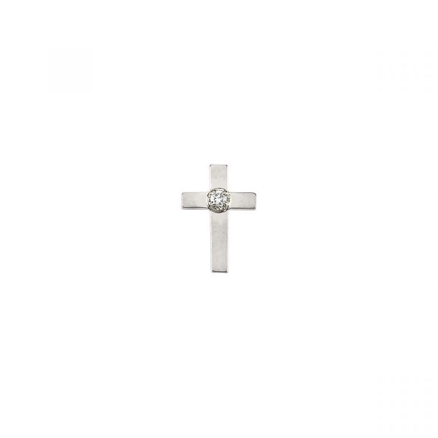 Diamond Cross Lapel Pin R16740   14Kt Yellow White   11.00X08.00 Mm   Polished   Cross Lapel Pin W Diamond by Midwest Jewellery