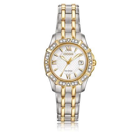 (Citizen Eco Drive Ladies' Diamond EW2364-50A Two-Tone Stainless Steel Bracelet with White Dial Watch)
