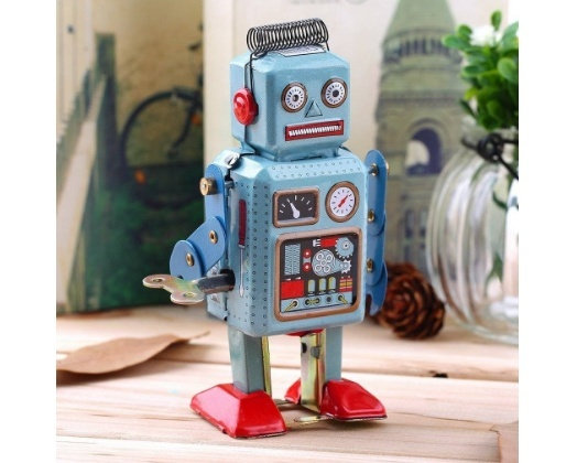 Retro Mechanical Walking Blue Fat Robot Wind Up Clockwork Tin Toy Decoration