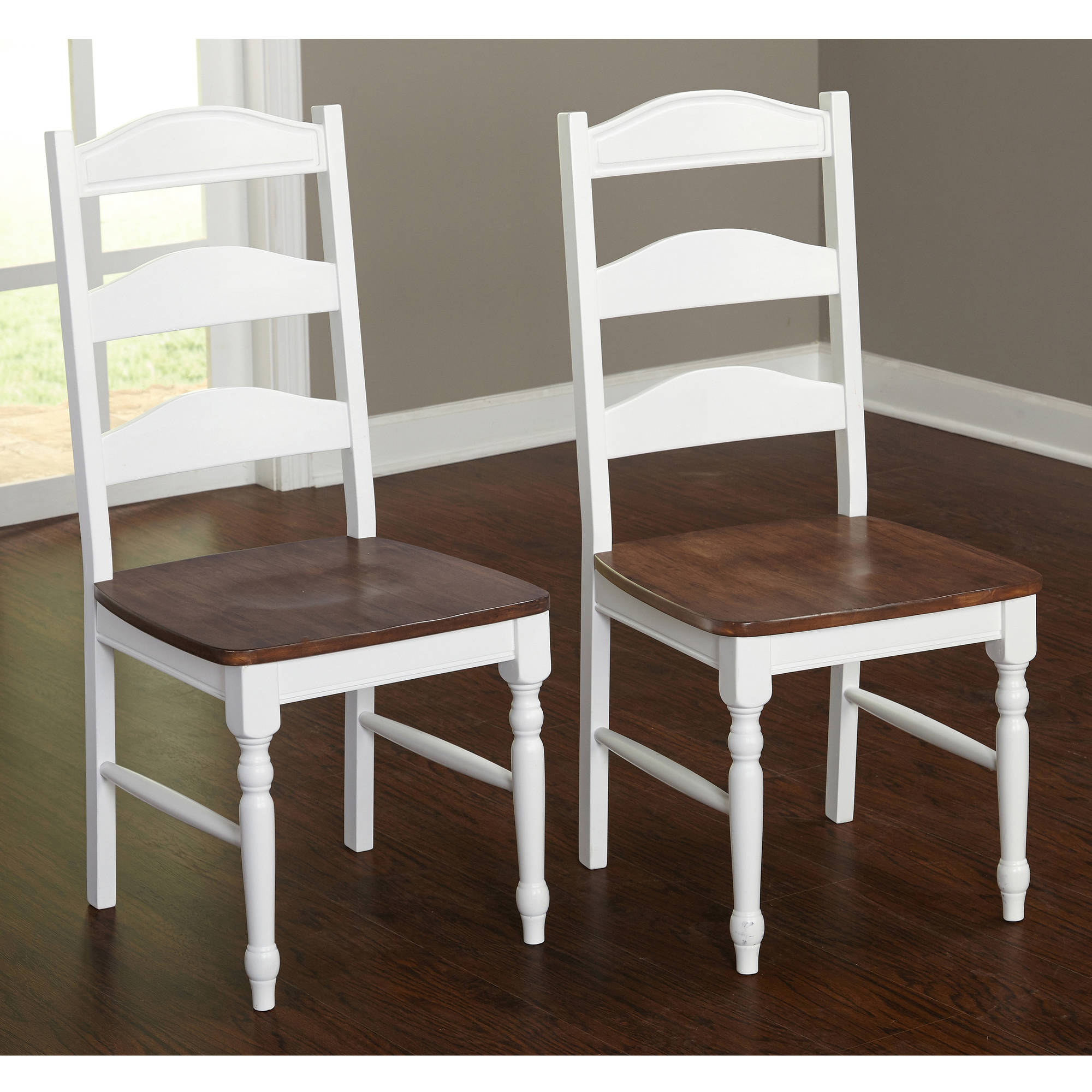 Skipton Dining Chair, Set of 2, White/Walnut