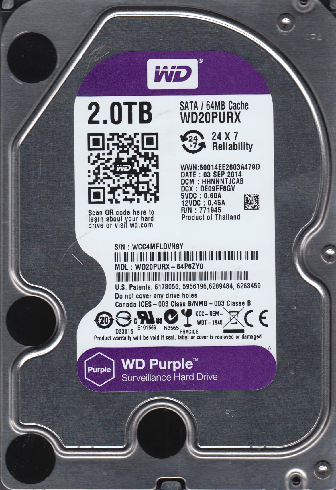WD20PURX-64P6ZY0, DCM HHNNNTJCAB, Western Digital 2TB SATA 3.5 Hard Drive by Western Digital