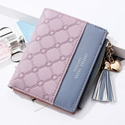 Fashion Women Wallets Female PU Leather Wallet Mini Ladies Purse Zipper Clutch Bag Money Card Holder for Women Girl(Purple)
