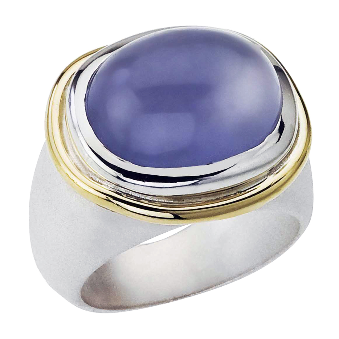 Sterling Silver, 18K Gold and Chalcedony Ring by Ax Jewelry