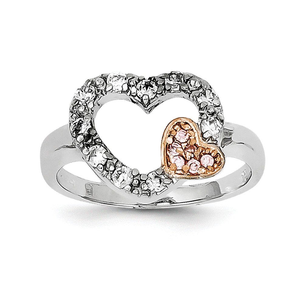 ICE CARATS 925 Sterling Silver Vermeil Pink Cubic Zirconia Cz Heart Band Ring Size 6.00 S/love Fine Jewelry Ideal Gifts For Women Gift Set From Heart