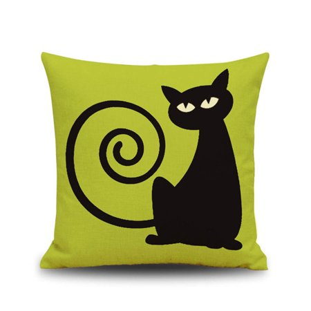 Happy Halloween Decorative Throw Pillow Case Moon Pumpkin Cat Sofa Pillowcase Cushion Cover - Halloween Pillow