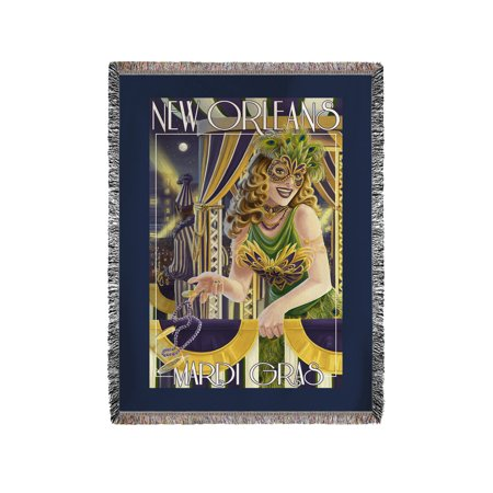 New Orleans, Louisiana - Mardi Gras - Lantern Press Artwork (60x80 Woven Chenille Yarn Blanket)](Mardi Gras Throws)