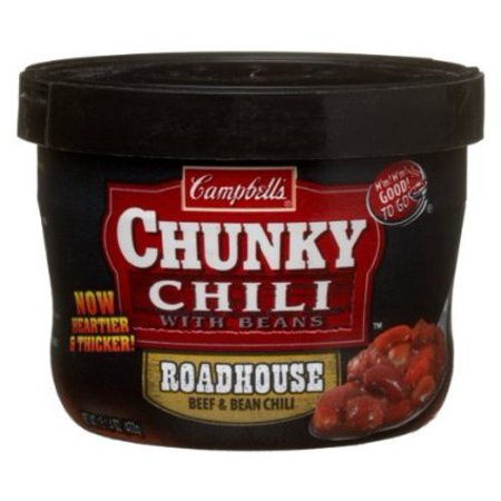 Campbell's Chunky Roadhouse Chili with Bean Microwaveable Bowl, 15.25 Oz (Case of 8) 10 Bean Soup