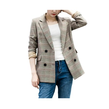 Single Breasted Three Piece Suit (Lavaport Company Women Causal Plaid Single Breasted Blazer OL Coat)