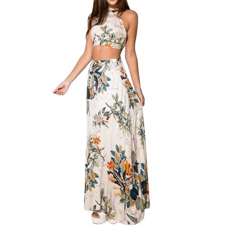 Flirt Halter Skirt (2Pcs Women Summer Floral Halter Crop Top+Long Skirt Bandage Club Dress Set)