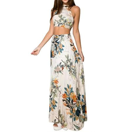 2Pcs Women Summer Floral Halter Crop Top+Long Skirt Bandage Club Dress Set](Halter Top Dresses)