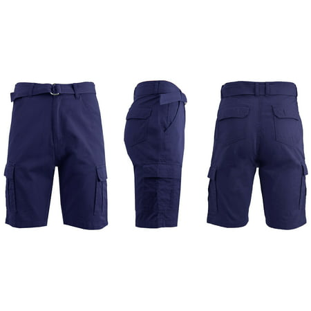 - Mens Flat Front Belted Cotton Cargo Shorts