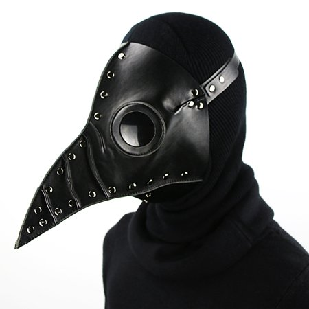 Halloween Party Mask Plague Doctor Cosplay Steampunk PU Leather Mask Black](Black Plague Doctor)