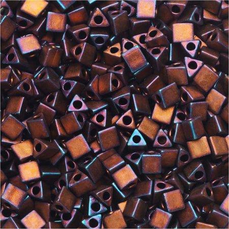 Miyuki, Sharp Triangle Beads 8/0, 7.2 Grams, Matte Metallic Dark Raspberry