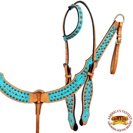 Hilason American Leather Horse One Ear Headstall Breast Collar Turquoise