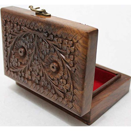 Valentine Day Gift Hers Girls Multipurpose Precious Stone Jewelry Box Solid Wood with Hand Carving Floral Designs and Medieval Era Lock 5.5