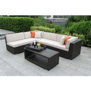 Nisbet Wicker 4-Piece Deep Seating Sofa Set, Beaver Tan