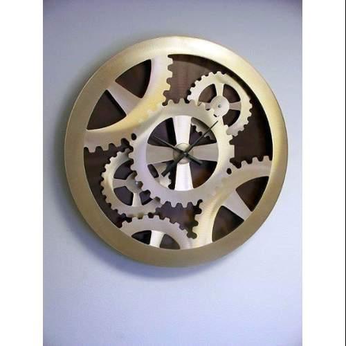 "Nova Lighting Gold Gears Moving Wall Clock Jon Gilmore Design 39"" Tall Gold Gear"