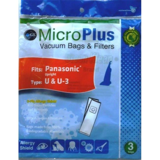 GK MicroPlus For Panasonic GKH-PanU Microplus 3 Ply Ecological Vacuum Bags- Pack of 75