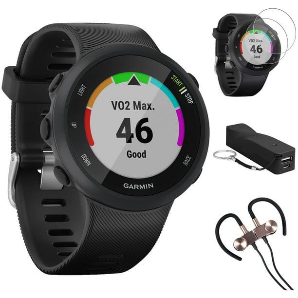 Garmin Forerunner 45 GPS Running Watch 45mm (Black) - 010-02156-05 w/ Accessories Kit Includes, Deco Gear Sport Wireless Earbud, 2600mAh Portable Power Bank & Deco Essentials Screen Protector (2Pack)