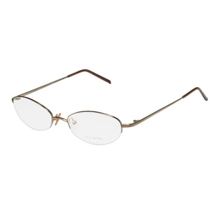 New Vera Wang V05 Womens/Ladies Designer Half-Rim Gold Glamorous Hip Affordable Japan Frame Demo Lenses 47-17-130 (Wang Sunglasses)