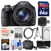 "Sony Cyber-Shot DSC-HX400V Wi-Fi Digital Camera with 64GB Card + Case + Battery + Tripod + HDMI Cable + 3 Filters Kit "" Kit Includes 12 Items with all Mfr-supplied Acc + Full USA Warranties 1) Sony Cyber-Shot DSC-HX400V Wi-Fi Digital Camera 2) Sony LCS-U1 Soft Digital Camera/Camcorder Case 3) Transcend 64GB SecureDigital SDXC 300x UHS-I Class 10 Memory Card 4) Spare NP-BX Battery for Sony 5) Precision Design 50 in PD-50PVTR Compact Travel Tripod 6) Vivitar 3-Piece Multi-Coated HD Filter Set (55mm UV/CPL/ND8) 7) Precision Design SD/SDHC + MicroSD HC Card Reader 8) Precision Design HDMI to Micro-HDMI Gold Audio/Video Cable (6 ft/1.8m) 9) PD 5pc Complete Cleaning Kit 10) PD 8 SD Card Memory Card Case 11) LCD Screen Protectors 12) Image Recovery Software Capture all the action with the Sony Cyber-Shot DSC-HX400V Wi-Fi Digital Camera. Closeness is nothing without clarity. Enjoy 50x optical zooming, silky-smooth Full HD 1080p video and razor-sharp, 20.4MP pics -- perfect for sporting events and all your adventures. Looking to capture the mood of a shot without the harshness of a flash? Low-light environments (think candlelight and campfire) maintain their warmth thanks to the sensitive Exmor R CMOS sensor. Keep your subject in focus with Lock-On AF. Instantly share your pictures and videos via built-in Wi-Fi connectivity and NFC (Near Field Communication). Also, map your images with GPS tagged photos. Key Features: 50x Optical / 100x Clear Image Zoom G Lens: Get amazingly close with 50x optical zoom plus 100x Clear Image zoom G lens. Most digital zooms use electronic cropping to get closer to the subject, resulting in unsharp images. With Clear Image Zoom the powerful processor compares patterns found in adjacent pixels and creates new pixels to match selected patterns, resulting in more realistic, higher-quality images. Clear Image Zoom doubles optical zoom for closer photos. Shoot incredibly smooth video and stills: Shoot incredibly smooth video and still images with the new BIONZ X processor and Optical SteadyShot (Intelligent Active mode). When the processor and image stabilization technology work together they deliver sharp image quality with low noise and minimal blur even while the user is strolling and the camera is zoomed in. 20.4MP Exmor R CMOS Sensor for superb low light images: This camera features a 20.4 megapixel Exmor R CMOS image sensor that brings out the full resolving power of the cameras professional G Lens to deliver extremely fast speed, high resolution, and stunning low-light sensitivity with improved image clarity and drastically reduced grain. In addition, the combined Exmor R CMOS sensor and BIONZ X image processor delivers extremely fast up to 10fps, Anti Motion Blur, Handheld Twilight and 1080p movie modes. Create cinematic Full HD video in 1080/60p/24p: Record crystal clear movies at the highest resolution available with capabilities for 60p/24p in 1080 AVCHD video. This provides stunning, fast motion video with less distortion for playback on your HDTV. Map your images with GPS tagged photos: GPS records location data and camera direction as you shoot movies and photos. GPS Log lets users track a photographic journey and later view the path and images on a map. Map View allows users to view images on a map showing where they can be displayed on Google Earth. Keep your subject in focus with Lock-On AF:Lock-On AF gives you the ability to focus on multiple points with subject recognition to keep your subject in sharp focus even when in motion. Enhance features w/ downloadable camera apps: Get creative with PlayMemories Camera Apps by applying exciting artistic effects or retouching images with professional results, theen easily upload your photos Facebook or Instagram."""