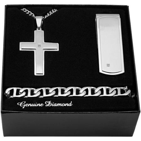 Mens Stainless Steel Diamond Accent Cross Pendant  Money Clip  Bracelet   Fathers Day Mens Box Set