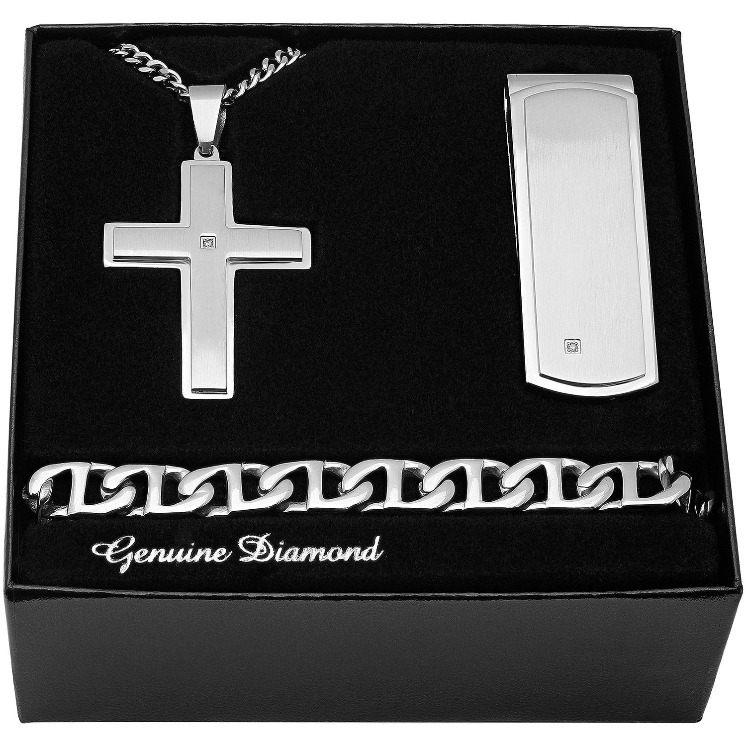 Men's Stainless Steel Diamond Accent Cross Pendant, Money Clip, Bracelet - Mens gift box set