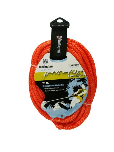 Click here to buy Wellington V7111KM Braided Polypropylene Water Ski Tow Rope, 75-Foot.