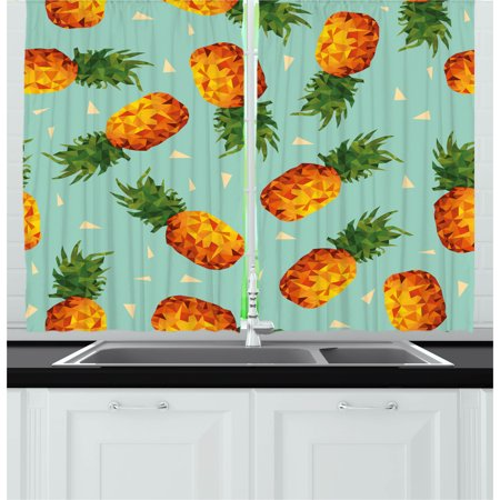 Retro Curtains 2 Panels Set, Poly Style Pineapples Motif Vintage Beach Summer Modern Illustration, Window Drapes for Living Room Bedroom, 55W X 39L Inches, Seafoam Olive Green Orange, by Ambesonne