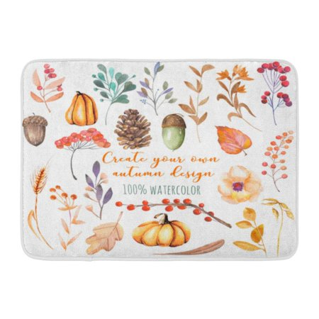 - GODPOK Watercolor Autumn Plants Pumpkins Fir Cones Wheat Spikes Yellow Leaves Fall Berries Acorns Hand White Rug Doormat Bath Mat 23.6x15.7 inch