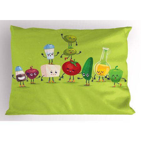 Ingredient Chute - Vegetable Pillow Sham Cartoon Greek Salad Ingredients in Cute Characters Fun Olive Oil Lemon Cheese, Decorative Standard Queen Size Printed Pillowcase, 30 X 20 Inches, Multicolor, by Ambesonne