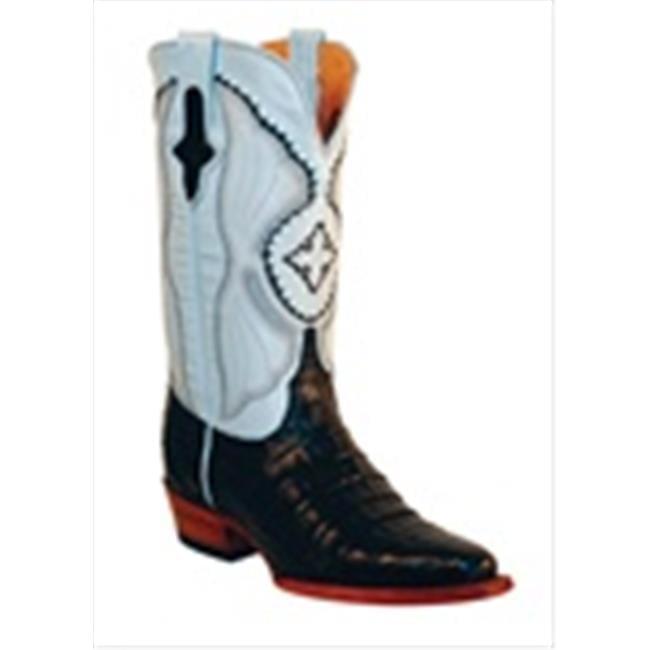 Ferrini 8246104060B Ladies Belly Caiman V-Toe Boots Black 6B by Ferrini