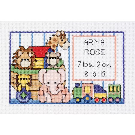 (Noah's Ark Birth Sampler Mini Counted Cross Stitch Kit, 6