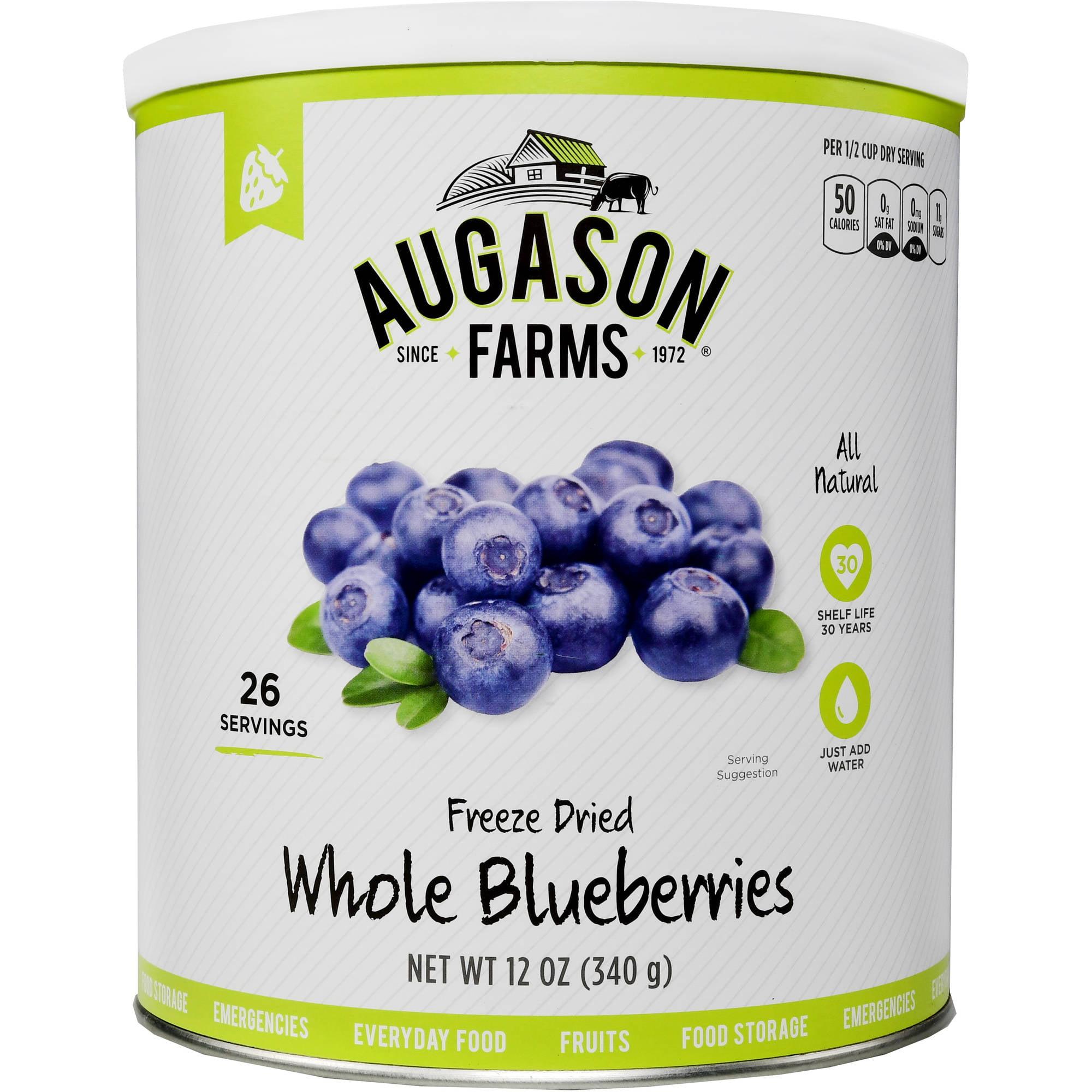 Augason Farms Emergency Food Freeze-Dried Whole Blueberries, 12 oz