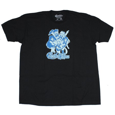 Sailor Moon Mens T-Shirt - Blue Tinted Chibi Sailor Group Image](Men Sailor)