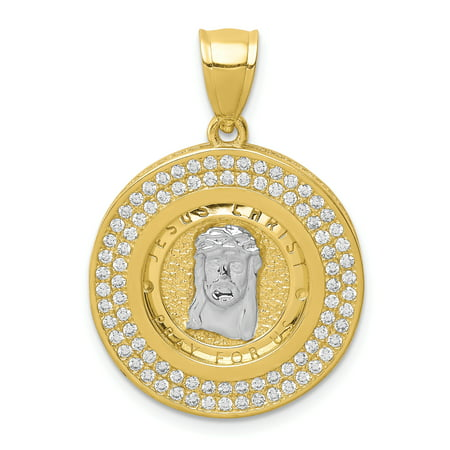 10K Yellow Gold & Rhodium Plated Cubic Zirconia Micropave Jesus Face Pendant