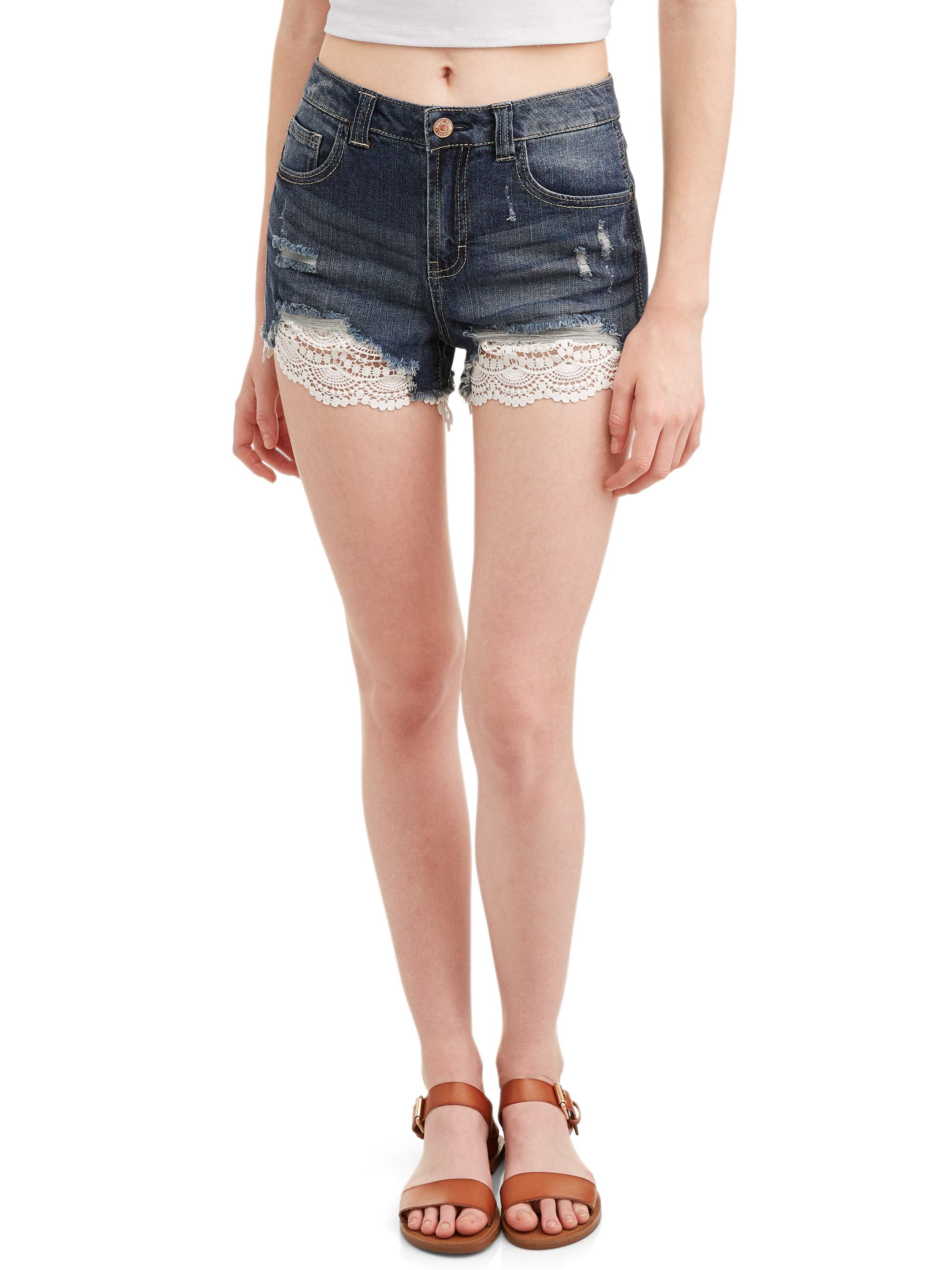 Almost Famous Juniors Crochet Lace Trim Denim Shorts Walmartcom
